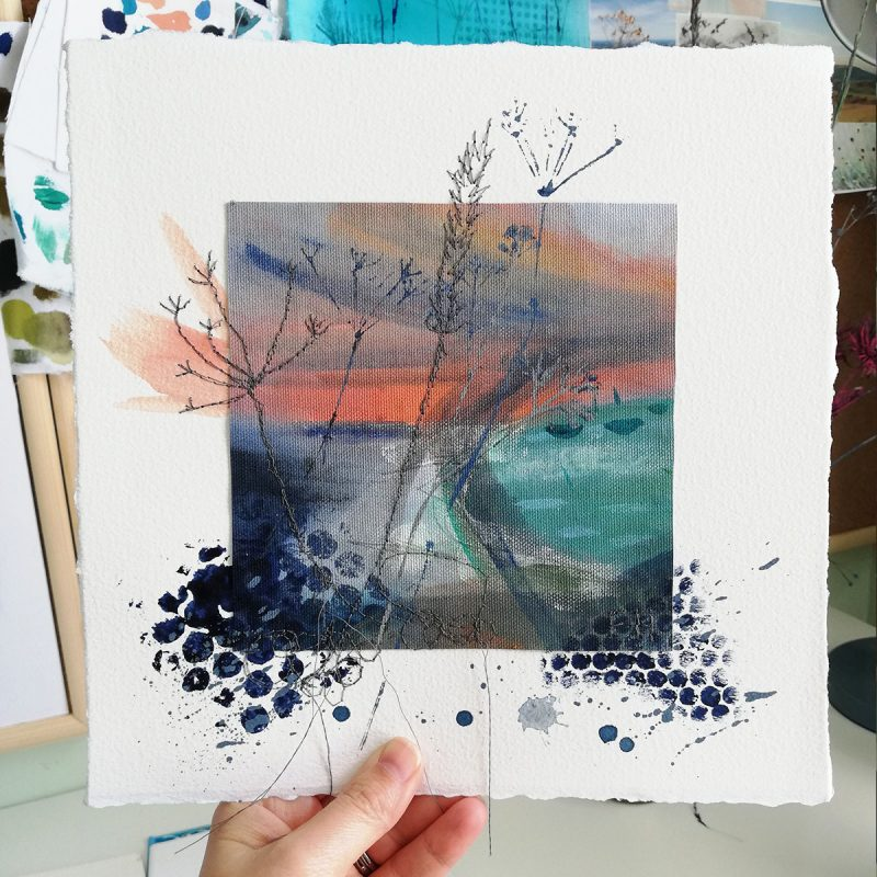 Mixed media textile artwork inspired by the Sussex Coastline