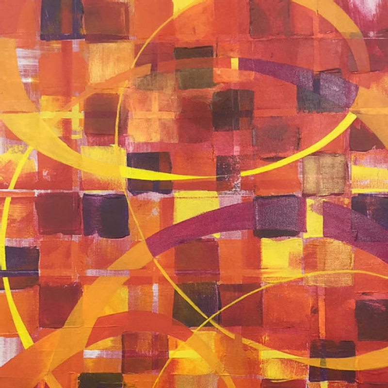 Red, yellow and orange squares make up a grid, a motif seen across my artwork.