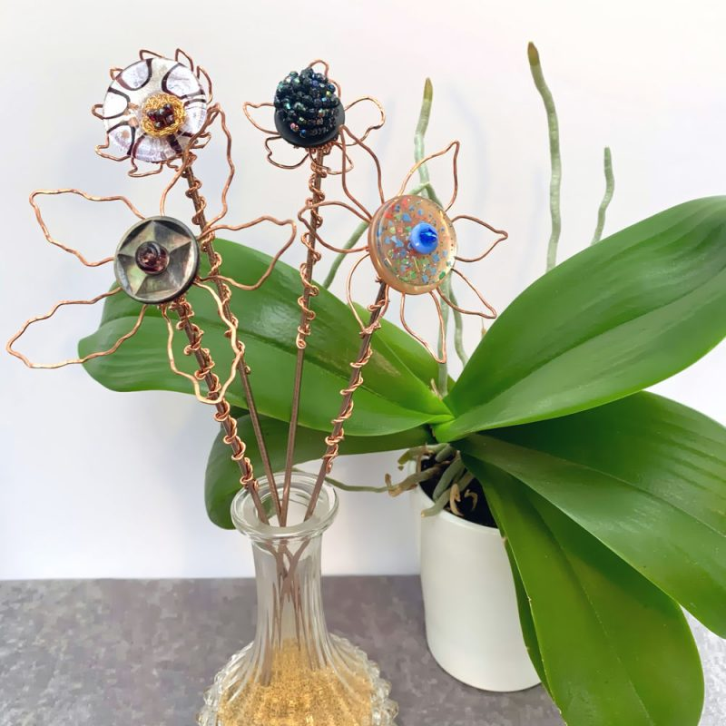 Handmade Hammered and Twisted Copper Sculpture Jewel Flowers by Troy Ohlson