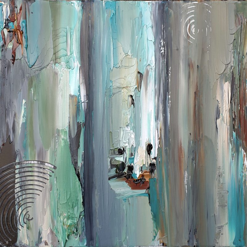 Abstract acrylic art Biege & Teal with texture using palette knife