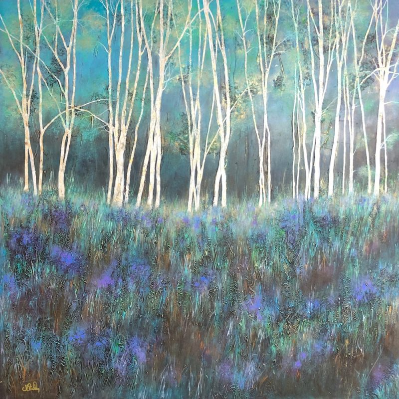 Textured woodland painting with a hint of bluebells, with gold highlights.