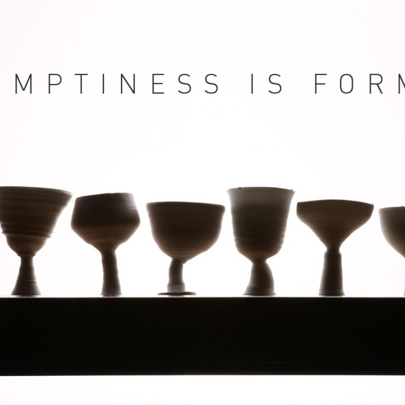 Row of porcelain goblets