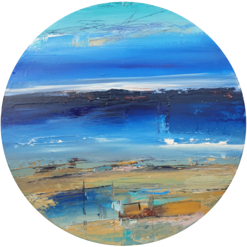 Abstract Landscape circle blue and biege sand and sea