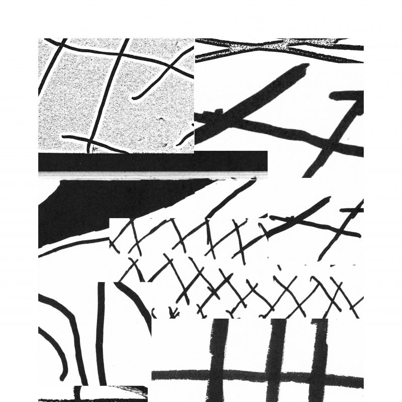 An abstract monochrome screen print of lines and shapes
