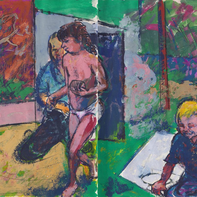 Three figures in garden - an adult and two children on a summer's day, painted in a rich loose style using strong colour and drawing with paint.