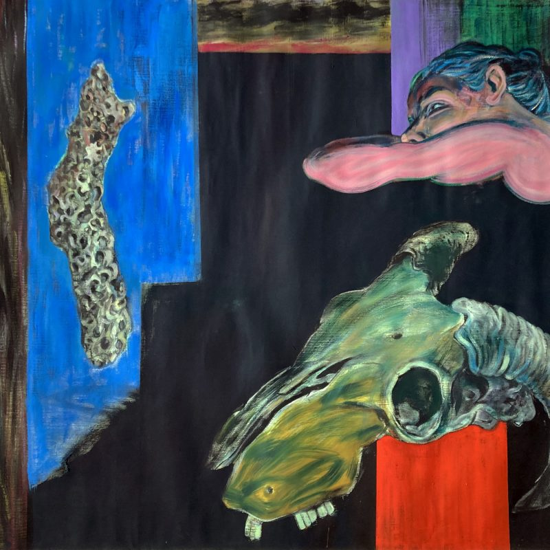 One of many paintings that deal with the theme of 'Momento Mori' which the artist addressed in a number of works. Here we have the skull of a a sheep in the foreground on a red plinth, while the upper part of a figure is seated behind with her head resting in reverie on her arms. A piece of rock, pockmarked from the sea, is suspended to the left of the painting. The colour is rich with a strong tonal range.