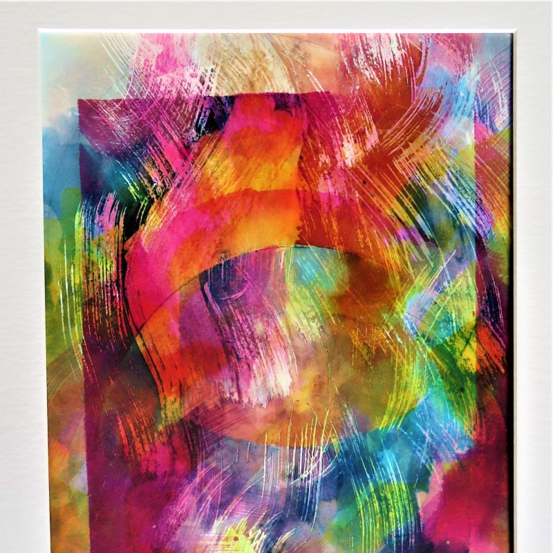 A batik on card using bright colours : reds, yellows, turquoise, purple. Thick brush strokes.