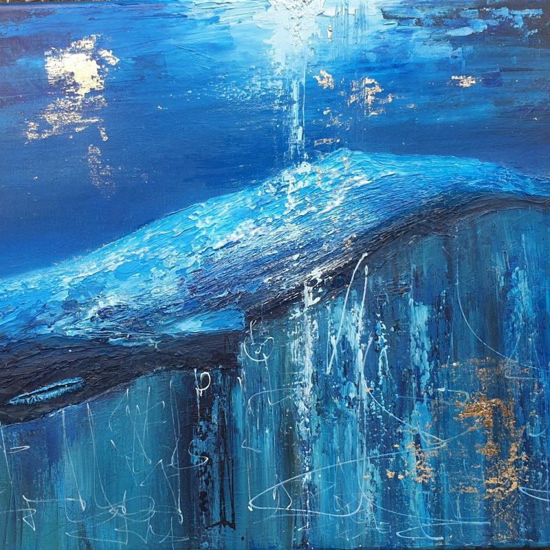 Sperm Whale painting, deep blue, with texture some gloss and gold leaf