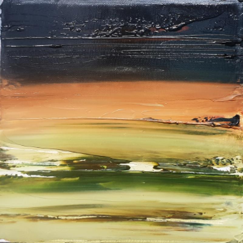 Dark abstract art, shades of green, light brown and dark brown/ black on deep edge canvas