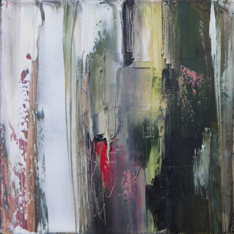 Abstract art. Deep green,yellow,white,red with etching into paint, downward strokes, blurry bit in the middle and texture